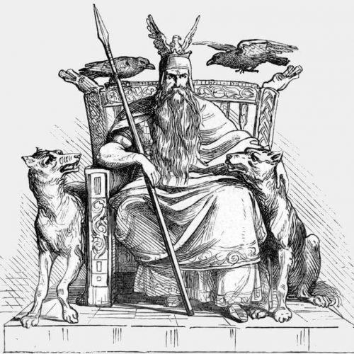 Odin der Wanderer auf Thron mit Huginn, Muninn, Geri und Freki
