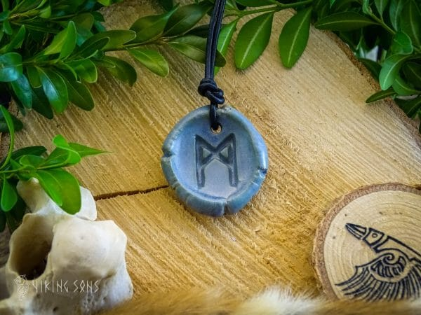 Runenkette Mannaz Blau Grün