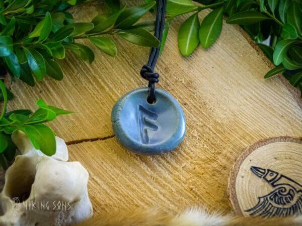 Runenkette Ansuz Blau Grün